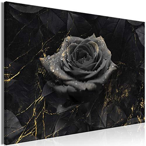 decomonkey Bilder Blumen Rose 120x80 cm 1 Teilig Leinwandbilder Bild auf Leinwand Vlies Wandbild Kunstdruck Wanddeko Wand Wohnzimmer Wanddekoration Deko Abstrakt schwarz Gold