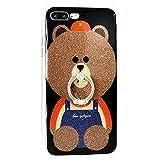 iPhone 7キックスタンドケース、かわいいTeddy Bear iPhone 7Bling Glitterソフトシリコンゴム製ブラック保護ケースfor Girls with指リングスタンド iPhone 7 LA-02198
