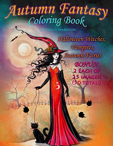 Autumn Fantasy Coloring Book – Halloween Witches, Vampires and Autumn Fairies: Coloring Book for Grownups and All Ages!