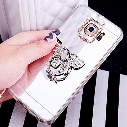 ikasus Coque Galaxy Note 5 Etui Housse [Support de bague] Placcatura brillant strass diamant Miroir Silicone Gel TPU Souple Housse de Protection Case Etui Coque pour Galaxy Note 5,Papillon d'argent