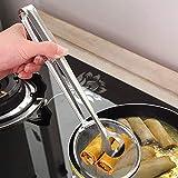 Multi-funcional Stainles Cuchara de filtro de acero con clip Comida Cocina Acero inoxidable Freidoras de aceite Ensalada Skimmers Filtro para barbacoa - Plateado