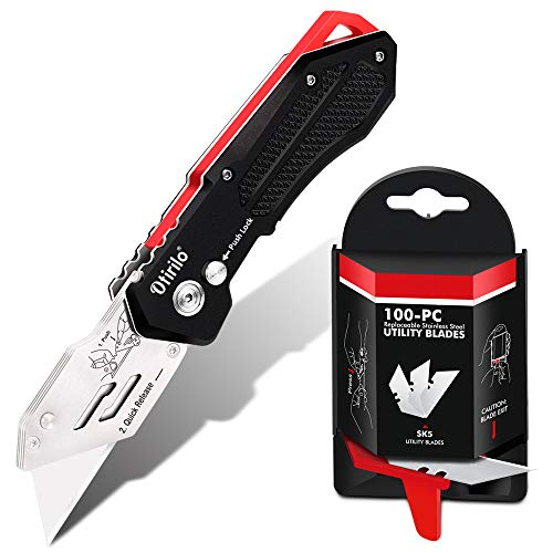 Folding Utility Knife with SK5 Blades 100Pack, Heavy Duty Box Cutters Carpet Knife with Pocket Clip, Lock-Back, Quick Change Blades for Cutting Carton, Leather, Aluminum, PVC Sheet, Fabric