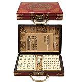 Juego Mini Mahjong, 144 Piezas Mah Jong De Viaje Portátil Con Caja De Cuero Arcaístico Y Manual En Inglés, Juego De Mesa Tradicional Antiguo, Juegos De Mahjong Chino Para Viajes
