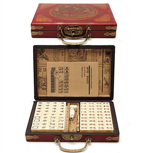 Foxlove Mahjong Set 144 Tiles Reise Mahjong Tragbare Mah-Jong Mit Archaistischen Leder Box Und Manuelle In Englisch Kreative Tragbare Reise Mahjong Klassische Brettspiele