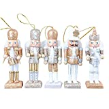 Womdee Christmas Nutcracker Ornaments Set, Wooden Nutcracker Figures Soldier Puppet Toy for Christmas Themed Party Outdoor Yard Tree Hanging Decorations, 12CM