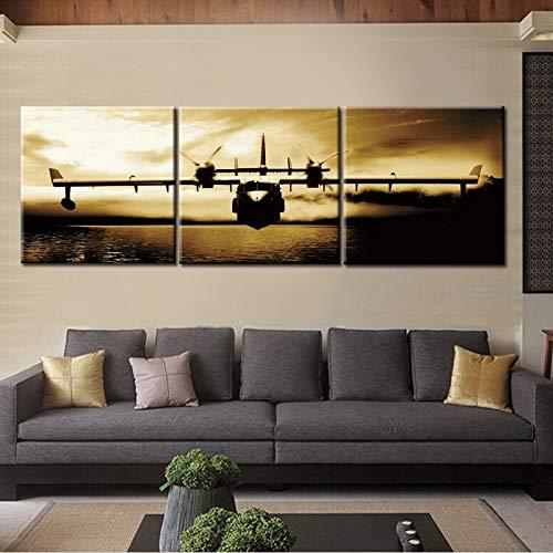 Frameloze schilderij drieluik vliegtuig canvas kunst aan de muur foto bar cafe abstracte poster woondecoratieZGQ5629 60X60cmx3