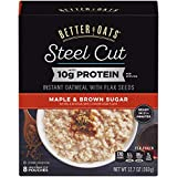Contains 6 - 12.7oz Boxes Our quick cooking oatmeal is a heart healthy, cholesterol free food and has 10g of protien per serving Better Oats is made with whole grain steel cut oats Our instant oatmeal is made with flax seed - a good source of ALA Ome...
