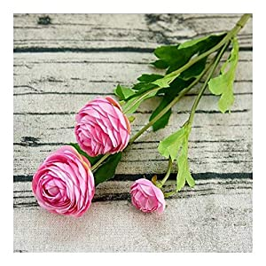 Remains 3 Heads Artificial Ranunculus Asiaticus Rose Fake Flowers Silk Flores Artificiales for Autumn Wedding Decoration Kunstbloemen Never (Color : E)