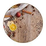 Juego de 6 posavasos redondos para bebidas, alfombrilla de protección de mesa para tazas y tazas, oficina, cocina, Navidad, Adviento de canela, textura de madera de limón