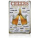 Yakobst Cartel de Chapa Placa Metal,Pintura de Hojalata de Metal Vintage de Cerveza, Decoración de Pared de Café Bar Pub Cerveza, Cartel de Placa de Bar Decoración de Pared de Fondo, 20 cm x 30 cm