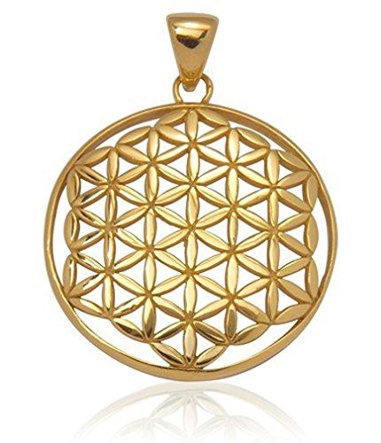 Schmuck Anhänger Blume des Lebens Ø 32 mm, 925 Sterling Silber vergoldet Lebensblume Schutz Amulett Reiki Damen Herren