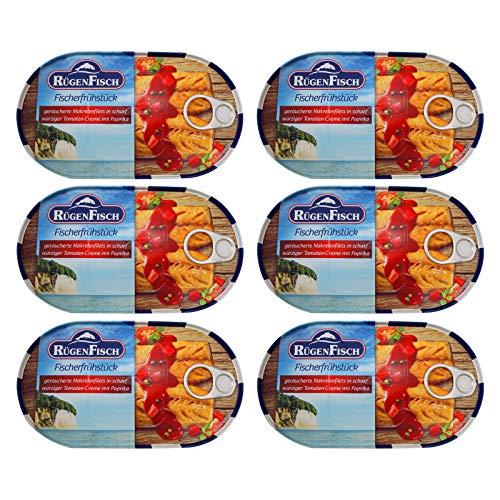 6er Pack RügenFisch Fischerfrühstück 6 x 200 g Fichbüchse Dosenfisch Makrelenfilet Fischdose