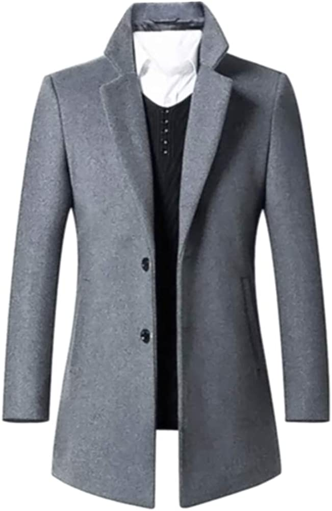 Beninos Men's Trench Coat Single Breasted 2 Buttons Long Jacket Overcoat