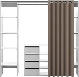 Dressing 2 Colonnes et Bloc avec 4 Tiroirs Bois Blanc/Taupe 185,3 x 182 x 50 cm, 4320X2191R00