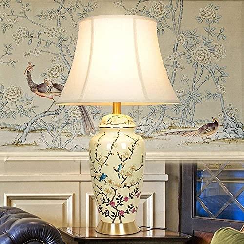 LTAYZ Lámpara Escritorio Nueva lámpara de Mesa China lámpara de Noche Sala de Estar Europea y Pastoral Villa Gran pájaro lámpara de cerámica Decorativa Todo Cobre 1 * (69 * 40 cm)