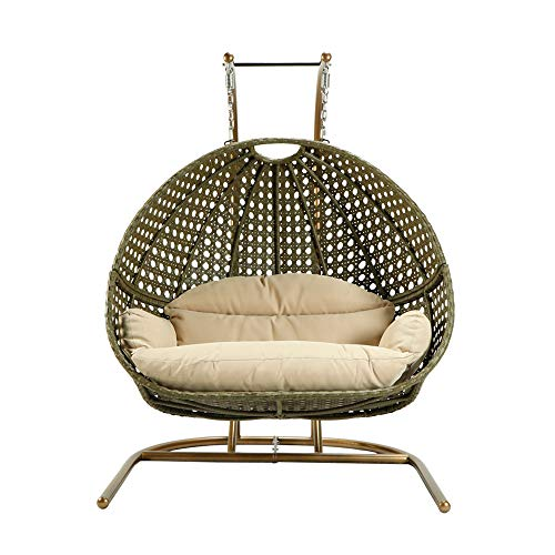 CoolMartus Outdoor Patio Wicker Loveseat Hanging Chair 2 Person Swing Seat Egg Hammock Lounge Chair with Cushions for Patio Garden Backyard Balcony Bedroom (Bronze)