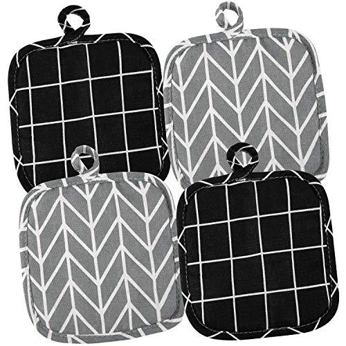 4 Stück Topflappen Set aus Baumwolle Topflappen Handschuh Waschbare zum Kochen Küchenzubehör Grillzubehör (18x18 cm)