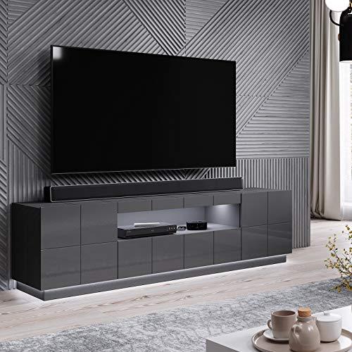AMA BMF Reja - Mueble para TV (184 cm de ancho, dos puertas, cajón), color gris brillante
