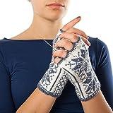 Guantes sin dedos noruegos Selbu tejidos a mano (100% lana merina) - gris - talla única