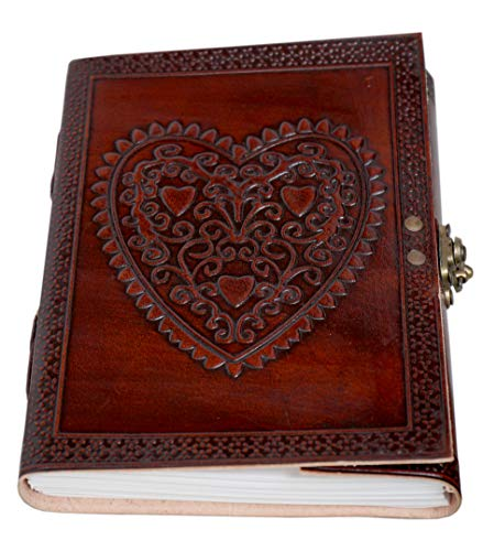 Celtic Heart Handmade Vintage Large 8' Embossed Leather Bound Journal With Lock For Men Women Blank pages personal Diary notebook journal gift