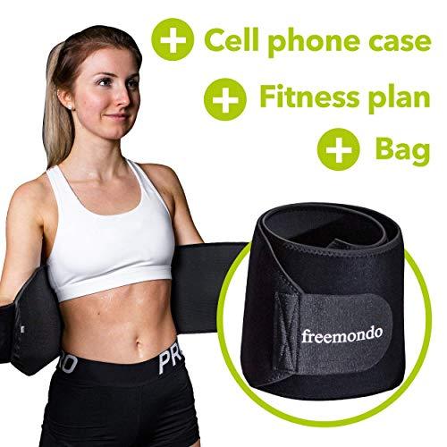 FREEMONDO Bauchgürtel inkl. Handytasche und Fitnessplan, Fitnessgürtel, Schwitzgürtel zur Fettverbrennung, Bauchweggürtel, Verstellbarer Bauchweggürtel, Fitness Gürtel, Nierengurt (L)