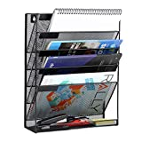 Mesh Hanging Wall File Organizer 5 Tier Vertical Mount, Durable Wall File Holder with Bottom Flat Tray for Office Home, Black