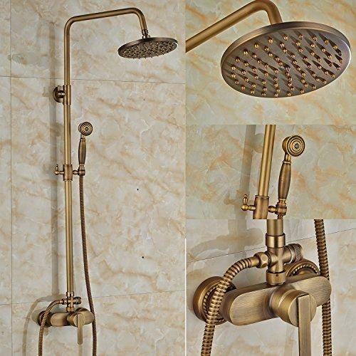 Soffione doccia con miscelatore monocomando per installazione a parete, manuale, 20,32 cm, per vasca da bagno, finitura in ottone antico
