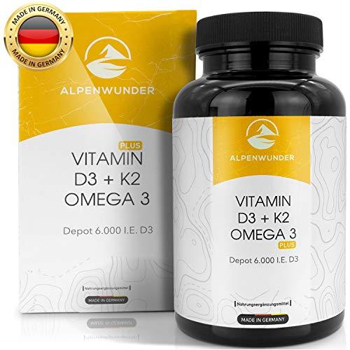 Alpenwunder Vitamin D3 und K2 + Omega 3 Fischöl Kapseln hochdosiert, 100{8c72c39531f8c11f82ff6da5d7a2ca7263aebeaa65aac41bd317baf199a0e02f} MADE IN GERMANY, 180 hochwertige Vitamin D3+K2 und Omega 3 Fischölkapseln, hergestellt gemäß DIN EN ISO 9001