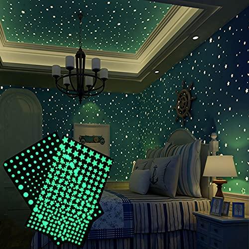 Warring States Luminoso 3D Estrellas Puntos Etiqueta de la Pared de la Pared de los niños Dormitorio Decoración de la decoración de la decoración Brilla en Las Etiquetas engomadas de Bricolaje Oscuro
