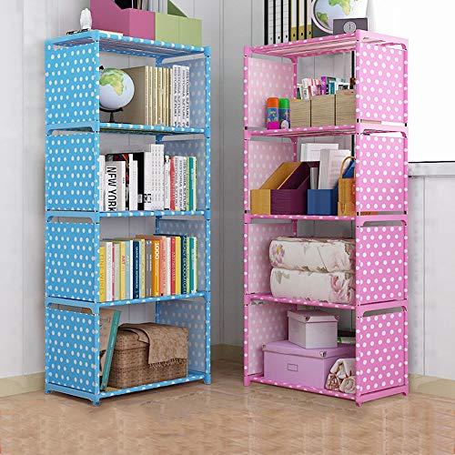 ZIEO Estantería Estantería Simple Estantería for niños Combinación Gratuita de estanterías Estanterías Armario de Almacenamiento de Refuerzo salón Bibliotecas (Color : Pink, Size : 144 x 30 x 50cm)