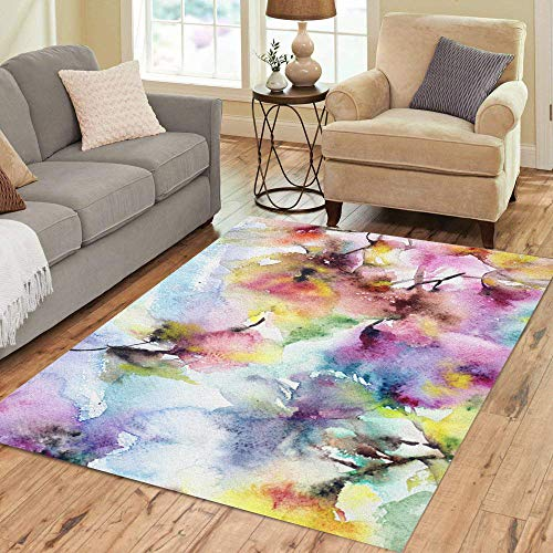 Pinbeam Area Rug Floral Watercolor Abstract Flowers Lilac Spring Wall Painting Home Decor Floor Rug 2' x 3' Carpet