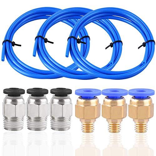 Orthland Tubo de Teflón, 3 Piezas de Tubo de PTFE(1.5m) Creality Original para Filamento de 1,75 mm, con 3 piezas de Conectores Neumáticos PC4-M6 y 3 piezas de Conector PC4-M10