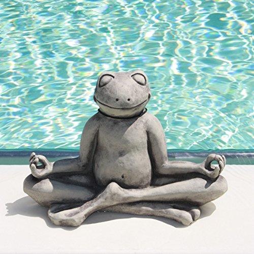 Vidroflor Steingussfigur Yoga-Frosch, Grau, 12/25/20 cm