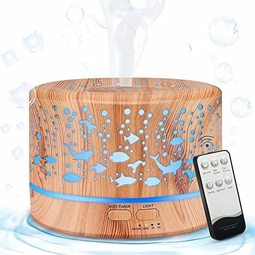 MANLI Aroma Diffuser 700ML Aromatherapie Duftöle ätherisches Öl Luftbefeuchter Ultraschall Duftlampen Aroma Vernebler Duftgeräte leise sicher 7 Licht Farben Fernbedienung für Yoga Spa Büro Baby Zimmer