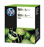 HP 301XL D8J46AE Tricolor, Cartuchos de Tinta de Alta Capacidad Originales, Pack de 2, compatible con impresoras de inyección de tinta HP DeskJet 1050, 2540,3050; OfficeJet 2620, 4630; ENVY 4500, 5530