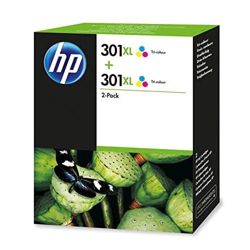 HP 301XL Cartuccia Originale Getto d'Inchiostro ad Alta Capacità, Confezione da 2 Cartucce, Tricromia