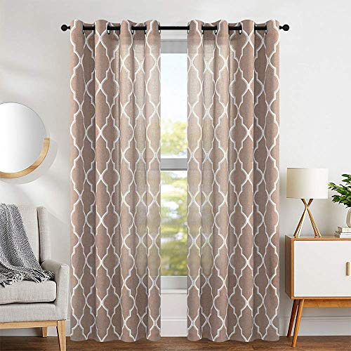 """jinchan Curtains Taupe Linen Living Room Drapes Light Filtering Moroccan Tile Print Window Treatment for Bedroom Curtain Flax Textured Geometry Lattice Grommet Dining Room 50"""" W x 108"""" L 2 Panels"""