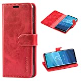 Mulbess Handyhülle für Samsung Galaxy S10 Hülle, Leder Flip Case Schutzhülle für Samsung Galaxy S10 Tasche, Wein Rot