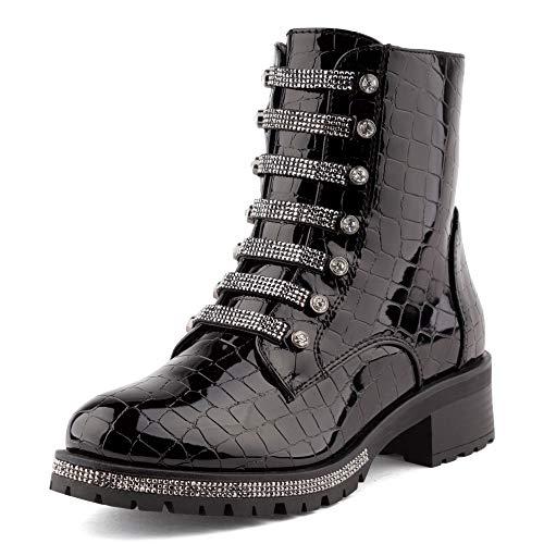 Fusskleidung Damen Stiefeletten Schlupf Stiefel Biker Boots Worker Combat Strass Schuhe Lack Schwarz EU 36