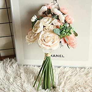 Artificial and Dried Flower Artificial Flowers Silk Ranunculus Floral Bouquet with Greenery Wedding Holding Flowers Office Home Decoration