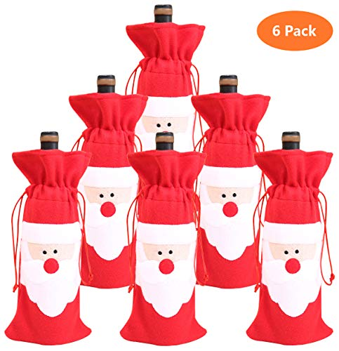 Bolsa Navidad botella vino Papá Noel cordón