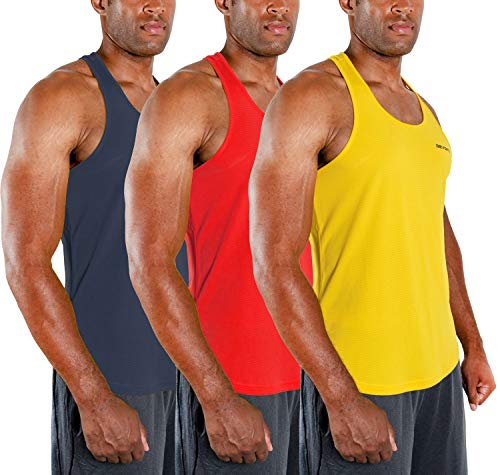DEVOPS 3 Pack Men s Y-Back Dri Fit Muscle Gym Workout Tank Top (Medium, Charcoal Red Yellow)