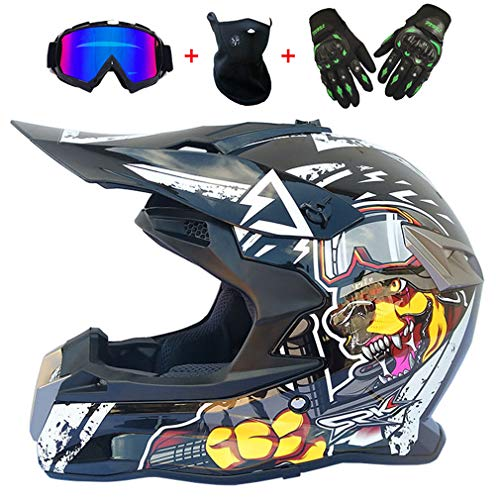Adultos Motos Motocross Cascos MX con Gafas Guantes Máscara Casco de Moto Jóvenes Cross MTB Integral Enduro Downhill Go Kart para Hombres Mujeres, Dibujos Animados en Blanco y Negro,XL