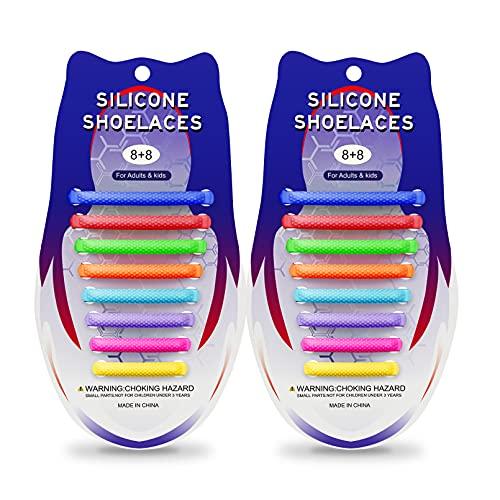 iYuePeng 16 pezzi Lacci in Silicone Impermeabili per Bambini e adulti,Semi Cono,Rimbalzante,Facile da inserire e pulire,Utilizzato per Scarpe Sportive Scarpe Casual