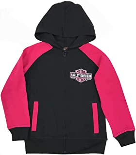 Harley-Davidson Big Girls' Glittery B&S Knit Zippered Hoodie, Black & Pink