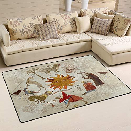 linomo Teppich Vintage Mittelalter Alchemie Fußmatte Wohnzimmer Home Decor Teppiche Bereich Matten für Kinder Jungen Mädchen Schlafzimmer 78,7 x 50,8 cm, Sonstige, Multi, 31 x 20 inches