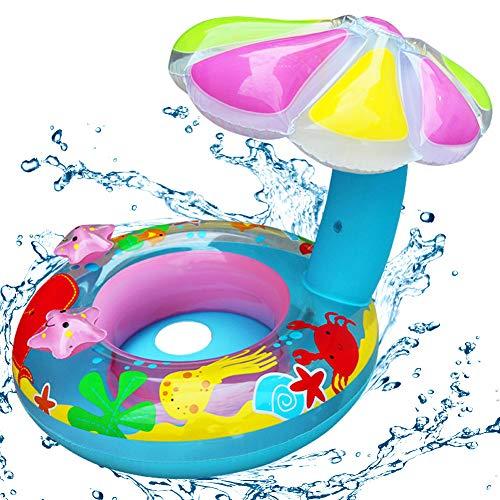 Baby Schwimmring mit Schwimmsitz, NALCY Baby Schwimmring Aufblasbarer, Baby Float Schwimmreifen, Baby Schwimmtrainer, Pilzform Schwimmring, Babyboot Mit Dach, Babyschwimmen