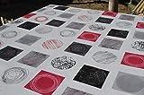 Mantel de Hule PVC Estampado círculos. Colores Rojo, Gris, Blanco y Negro. Tapies Rojo (140_x_100_cm)