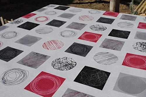 Mantel de Hule PVC Estampado círculos. Colores Rojo, Gris, Blanco y Negro. Tapies Rojo (140_x_250_cm)