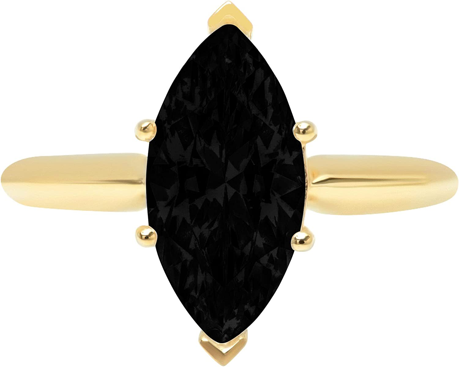 Clara Pucci 2.50 ct Brilliant Marquise Cut Solitaire Natural Black Onyx Gem 6-Prong Engagement Wedding Bridal Promise Anniversary Ring Solid 18K Yellow Gold for Women
